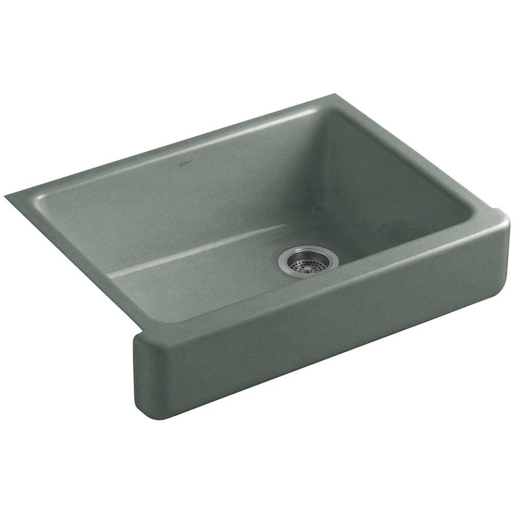Kohler Whitehaven Farmhouse Apron Front Cast Iron 30 In Single Basin Kitchen Sink In Basalt K