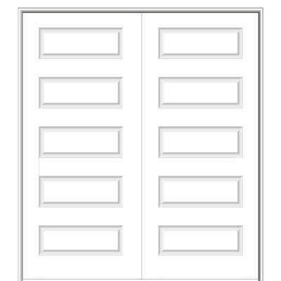 60 in. x 80 in. Smooth Rockport Both Active Solid Core Primed Molded Composite Double Prehung Interior Door