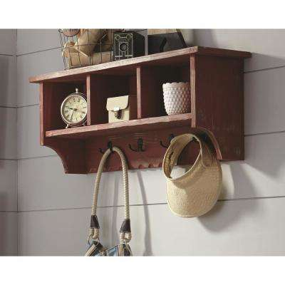 Country Cottage Red Antique Coat Hooks with Storage Cubbies