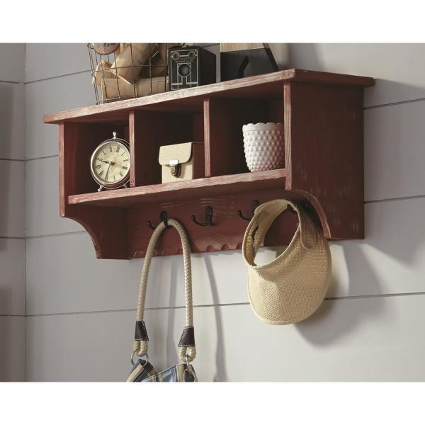 Alaterre Furniture Country Cottage Red Antique Coat Hooks with Storage Cubbies