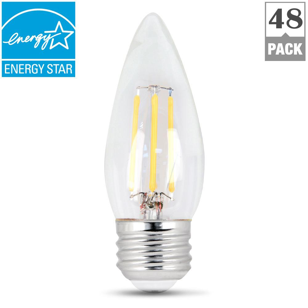 60W Equivalent Soft White B10 Dimmable Clear Filament LED Medium Base