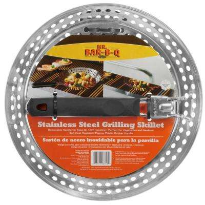 Stainless Steel Grilling Skillet With Removable Finger Grip Stay Cool Handle
