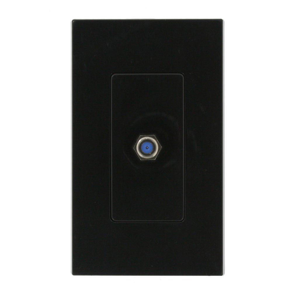 Decora Plus Plastic Adapter, CATV Jack, Black