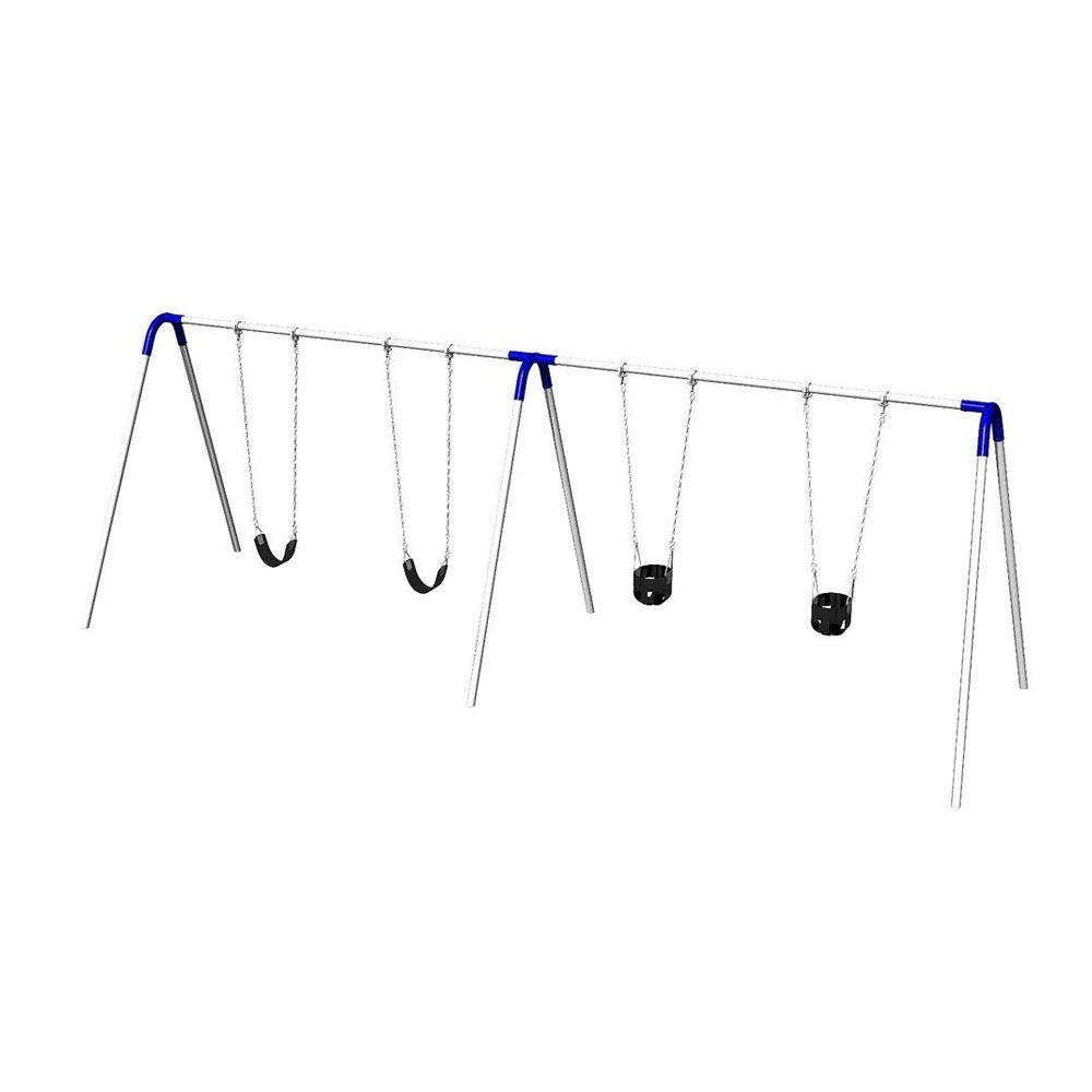Ultra Play Double Bay Commercial Bipod Swing Set with 2 Tot Seats, 2 Strap Seats and Blue Yokes