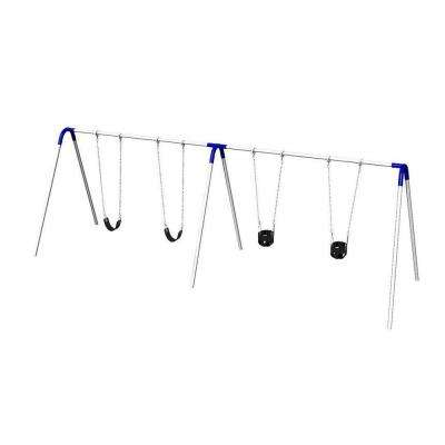Double Bay Commercial Bipod Swing Set with 2 Tot Seats, 2 Strap Seats and Blue Yokes