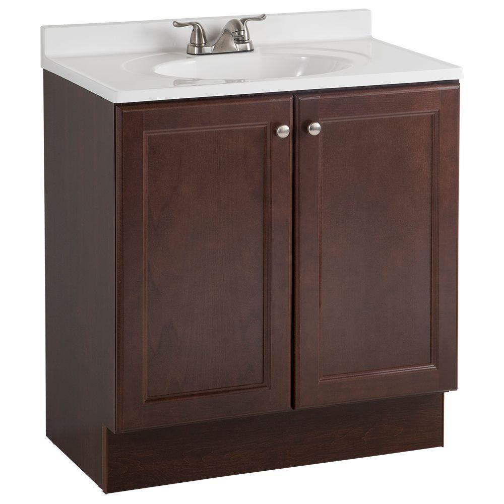 GLACIER BAY All-In-One 30 in. W x 36 in. H x 19 in. D Bath Vanity Combo in Chestnut with Cultured Marble Vanity Top in White