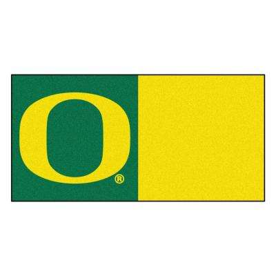 NCAA - University of Oregon Green and Yellow Pattern 18 in. x 18 in. Carpet Tile (20 Tiles/Case)