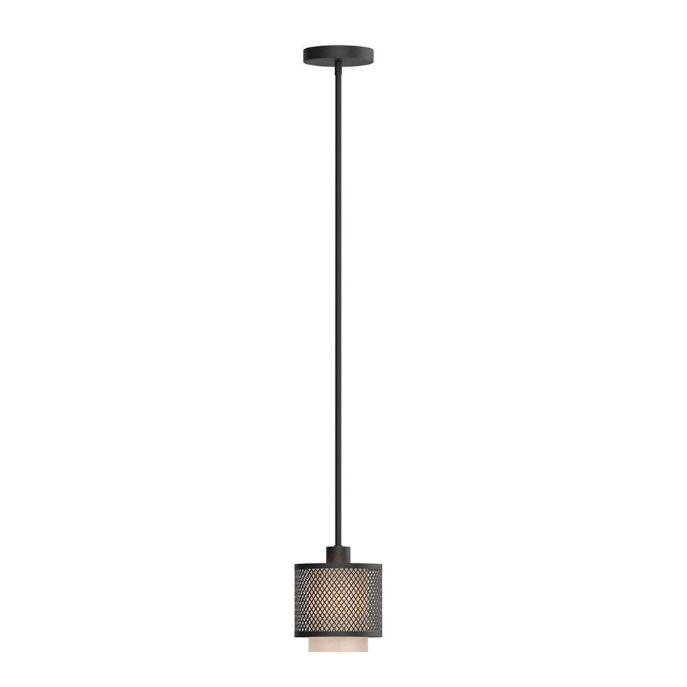 Home Decorators Collection Summit Collection 1-Light Bronze Mesh Mini Pendant with Inner Cream Fabric Shade