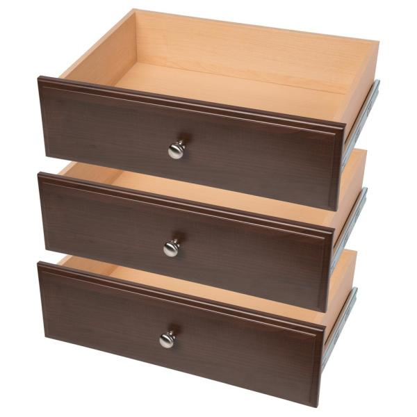 24'' W. x 8'' H. x 14'' D. Espresso Drawer 3-Pack