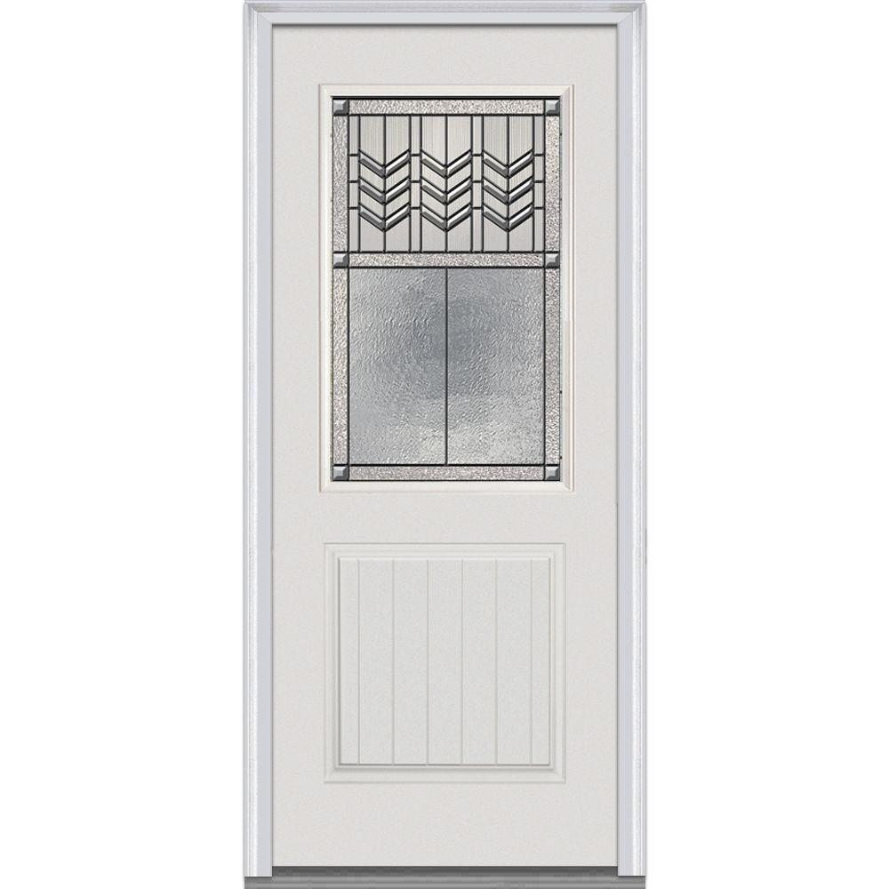 32 in. x 80 in. Prairie Bevel Left-Hand 1/2 Lite 1-Panel