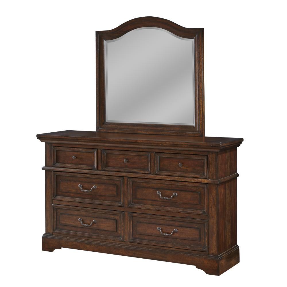 Stonebrook 7-Drawer Tobacco Dresser with Mirror