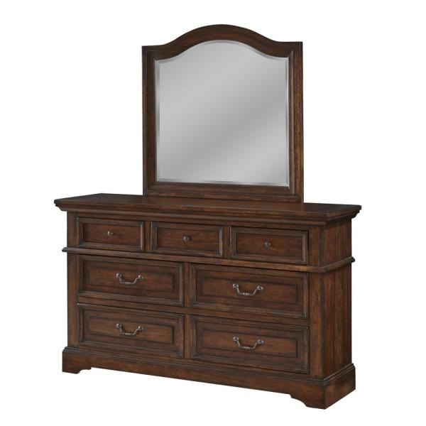 American Woodcrafters Stonebrook 7-Drawer Tobacco Dresser with Mirror 7800-DLM