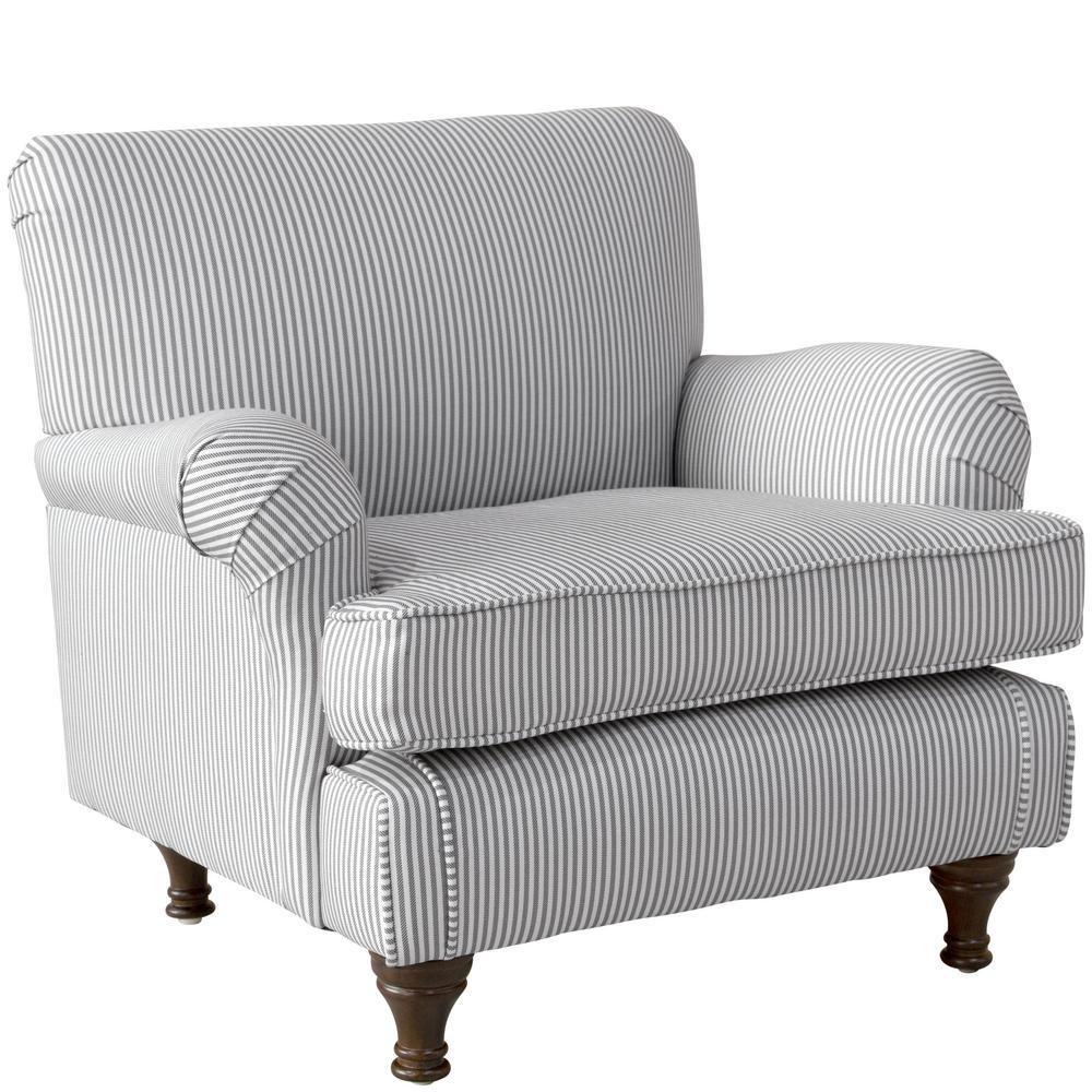 Oxford Stripe Charcoal Kid's Roll Arm Chair