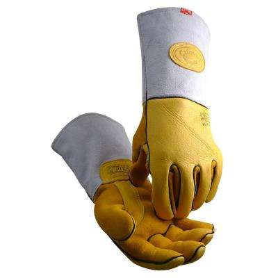 Medium Gold Heavy Duty Deer Grain Welding Gloves