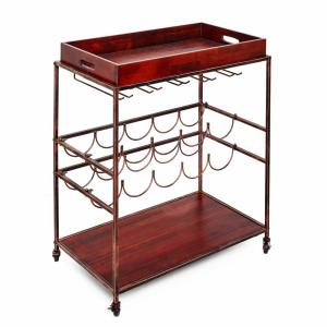 Avalon 28 in. x 16 in. x 32 in. Wine and Serving Cart in Antique Copper, Rosewood Stained Rubberwood