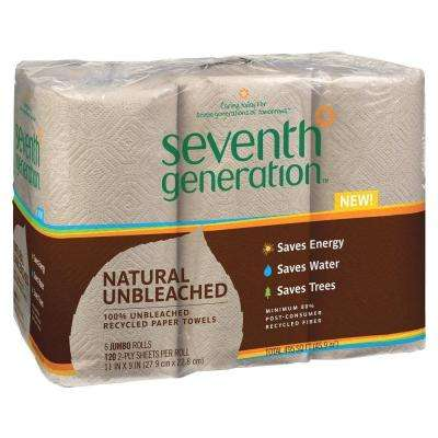 Unbleached 100% Recycled Paper Towels (6 Rolls per Pack)