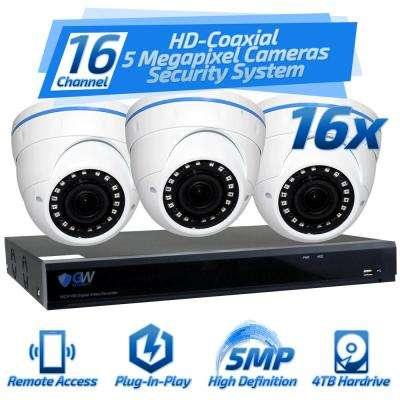 16-Channel HD-Coaxial 5MP System NVR 4TB Surveillance System with 16 Wired Dome Cameras 2.8 mm - 12 mm Lens 98 ft. IR
