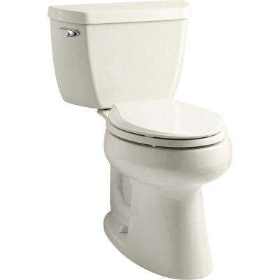 Highline 2-Piece 1.28 GPF Single Flush Elongated Toilet in Biscuit with Rutledge Quiet Close Toilet Seat