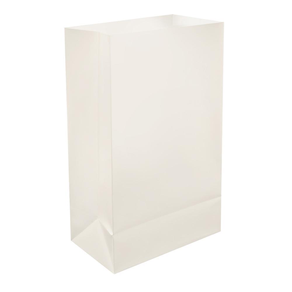 Plastic White Luminaria Bags (12-Count),  Whites