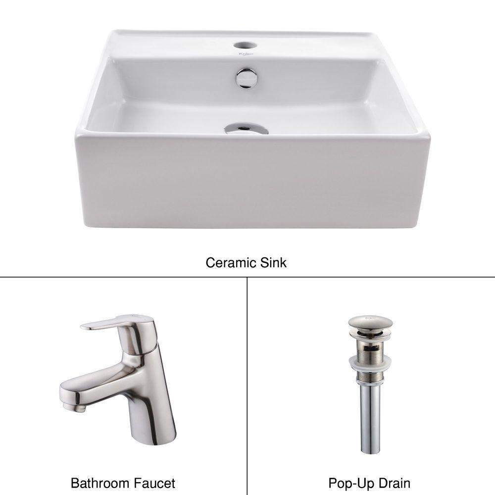 KRAUS Square Ceramic Sink in White with Ferus Basin Faucet in Brushed Nickel