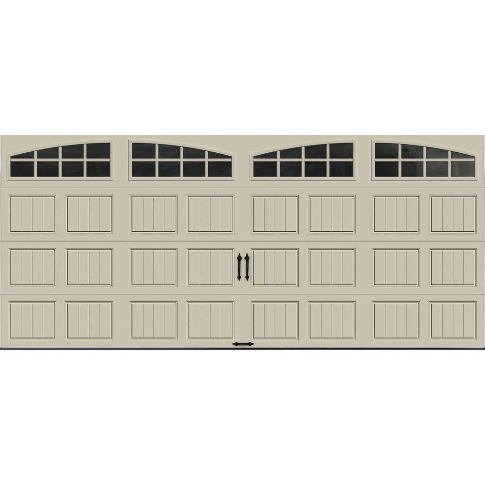 Clopay Gallery Collection 16 ft. x 7 ft. 6.5 R-Value Insulated Desert Tan Garage Door with Arch Window