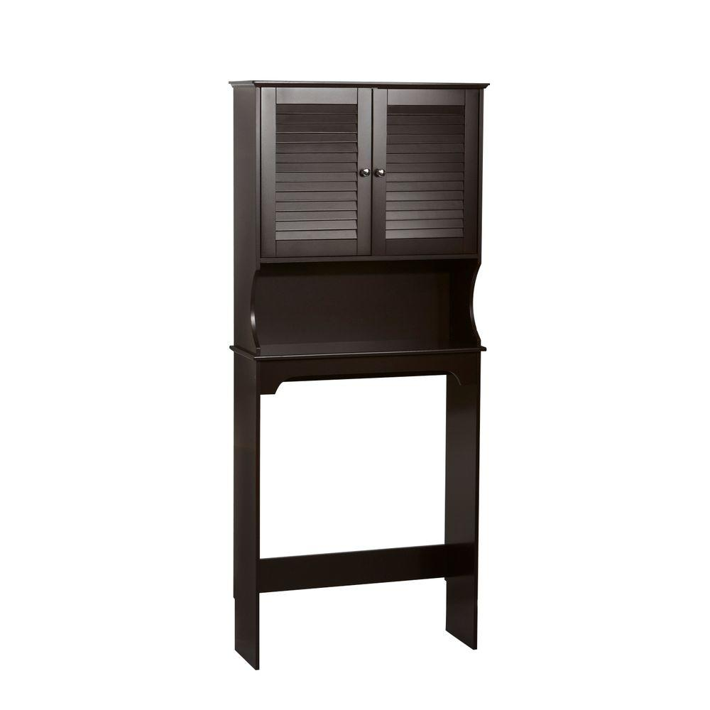 RiverRidge Home Ellsworth 27 9/25 In. W X 63 7/10 In. H X 9 1/4 In. D  2 Door Over The Toilet Storage Cabinet In Espresso 06 032   The Home Depot