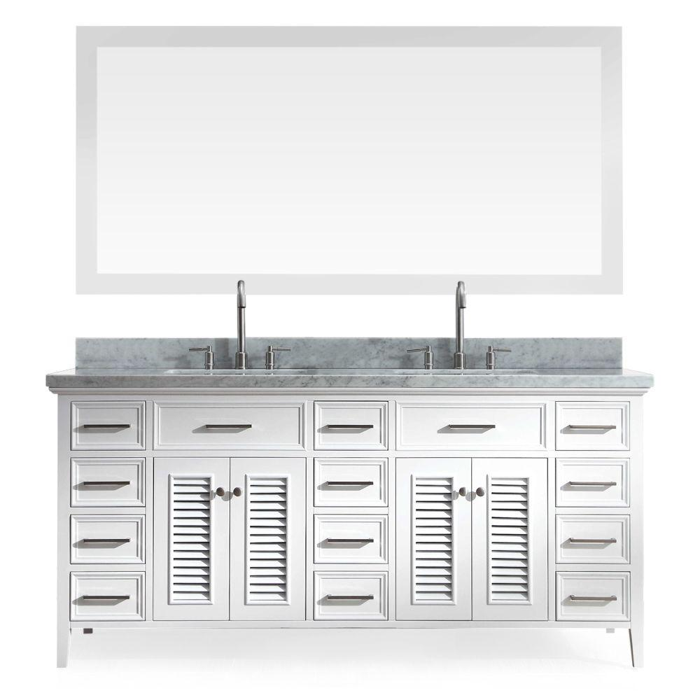 Ariel Kensington 73 in. Bath Vanity in White with Marble Vanity Top in Carrara White, Under-Mount Basins and Mirrors