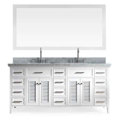 Kensington 73 in. Vanity in White with Marble Vanity Top in Carrara White, Under-Mount Basins and Mirrors