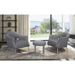 Lyric Contemporary Grey Fabric Upholstered Accent Chair