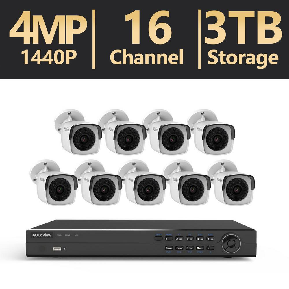 16-Channel 4MP 3TB IP NVR Surveillance System (9) 4MP Bullet Cameras