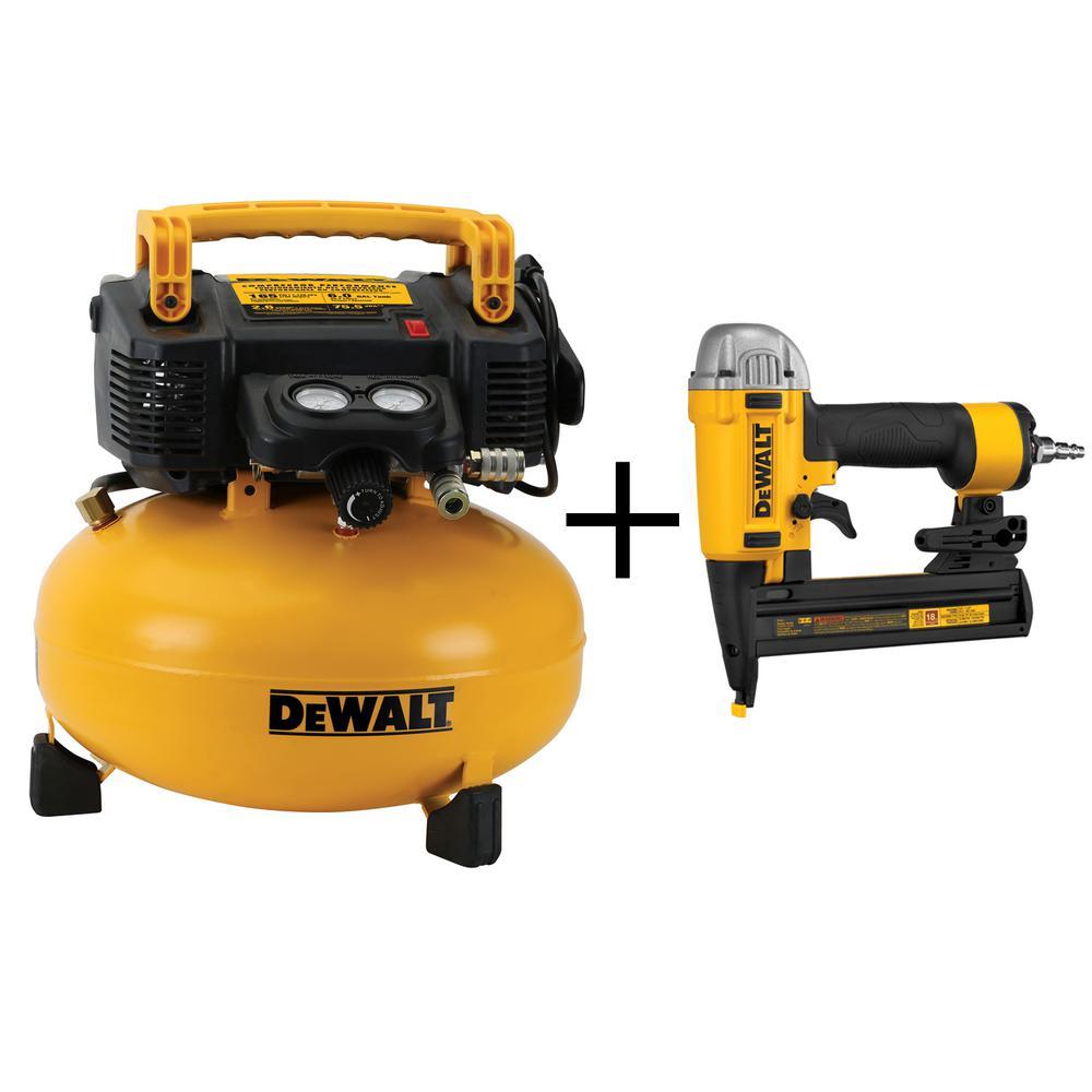 Dewalt 6 Gal. Portable Electric Air Compressor with Bonus 18-Gauge 1/4 inch Crown Stapler by DEWALT