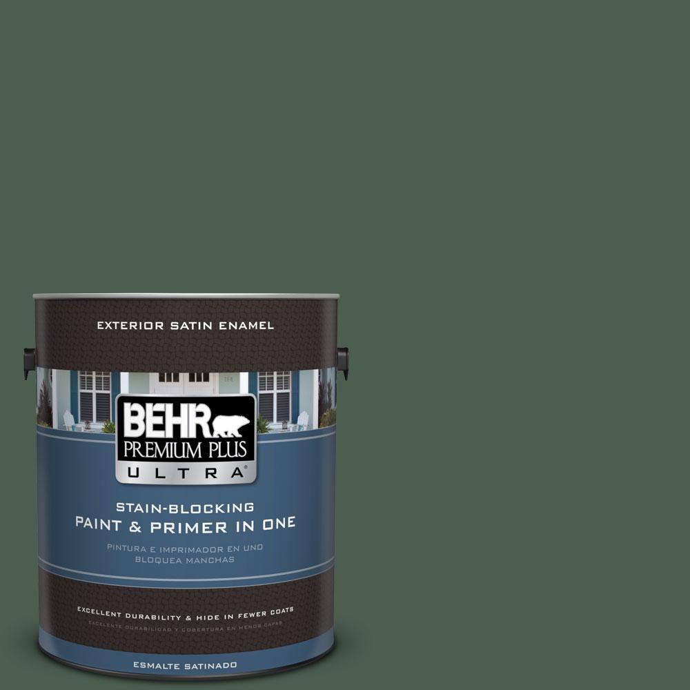 BEHR Premium Plus Ultra 1-gal. #450F-7 Hampton Green Satin Enamel Exterior Paint