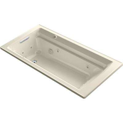 Archer 72 in. Rectangular Drop-in Whirlpool and Air Bath Bathtub in Almond