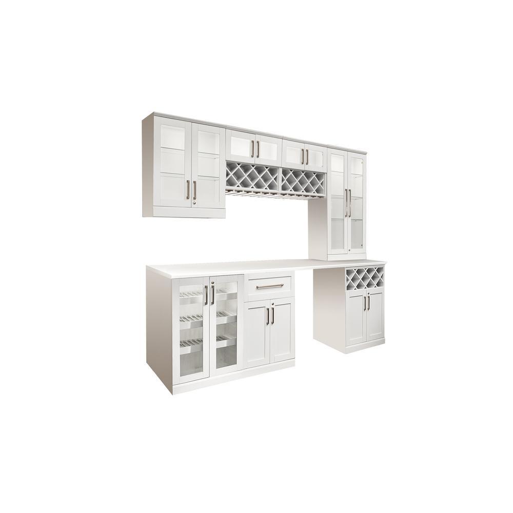 Home Bar White 8-Piece Shaker Style Bar Cabinet
