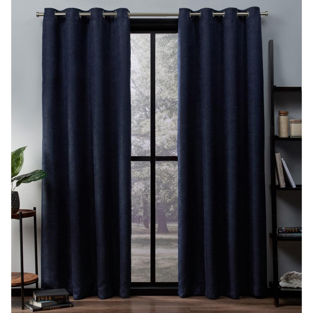 Oxford Navy Textured Sateen Thermal Grommet Top Window Curtain