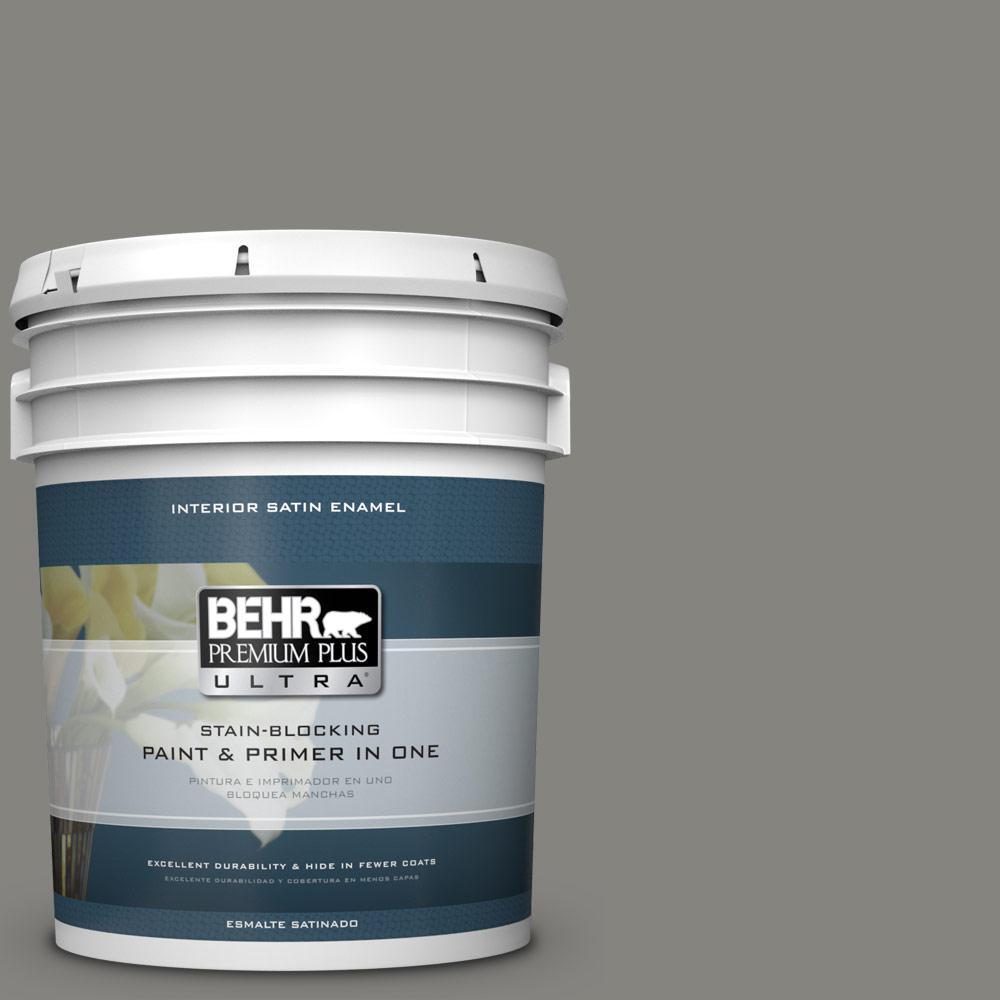5 gal. #PPU24-07 Barnwood Gray Satin Enamel Interior Paint