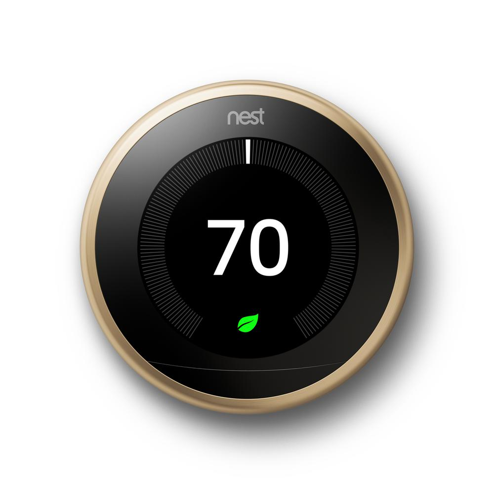 Google Nest Learning Thermostat 3rd Gen in Brass