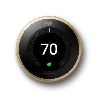 Nest Smart Learning Wi-Fi Programmable Thermostat, 3rd Gen, Brass