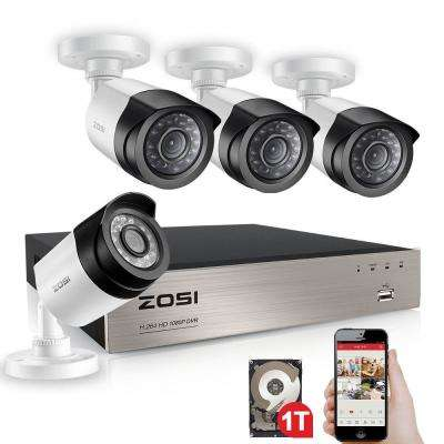 4-Channel 1080p 1TB DVR Security Camera System with 4 Wired Bullet Cameras