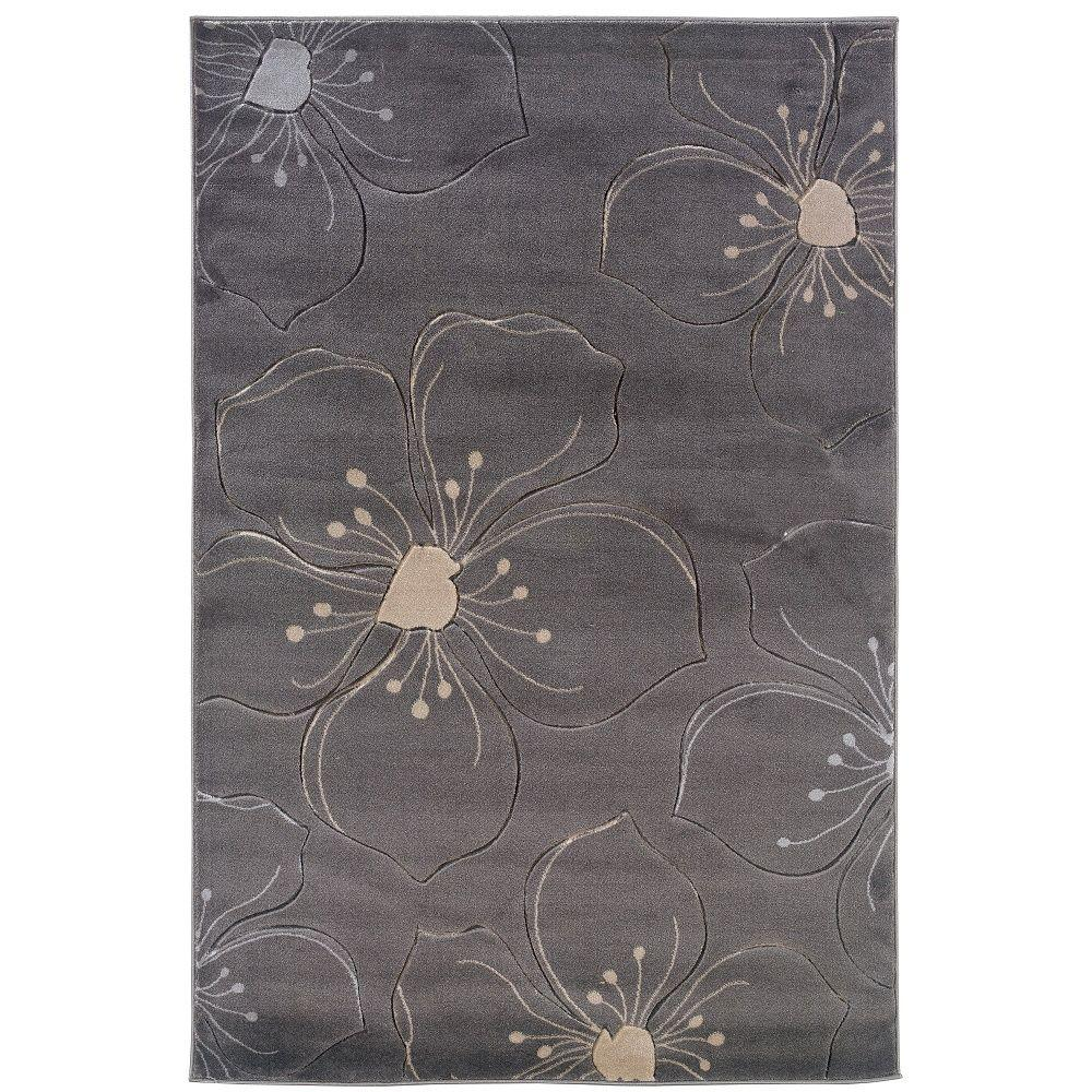 Linon Home Decor Milan Collection Grey and Ivory 8 ft. x 10 ft. Indoor Area Rug, Primary: Grey / Secondary: Ivory This Linon Home Decor 8 ft. x 10 ft. Area Rug will be a great welcoming addition to your home. This rug is designed with gray elements, upgrading the color scheme of your space. It has a floral pattern, so you can add a nature-inspired vibe into your room. It features a 100% polypropylene design, which adds style and comfort. Color: Primary: Grey / Secondary: Ivory.
