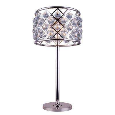 Madison 32 in. Polished Nickel Table Lamp with Clear Crystal