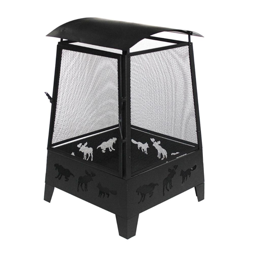 22 in. x 28 in. Square Wood & Coal Steel Fire