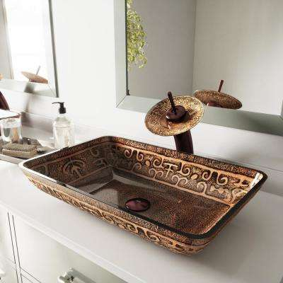 Rectangular Glass Vessel Sink in Golden Greek with Waterfall Faucet Set in Oil Rubbed Bronze