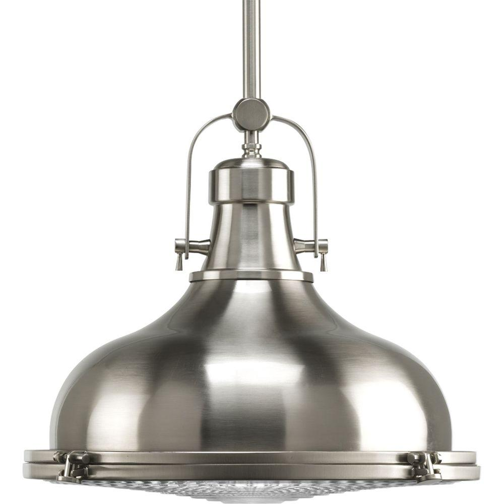Progress Lighting Fresnel Collection 1 Light Brushed Nickel Pendant With Lens