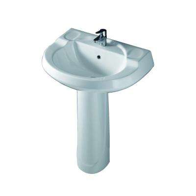 Wynne 705 Pedestal Combo Bathroom Sink in White