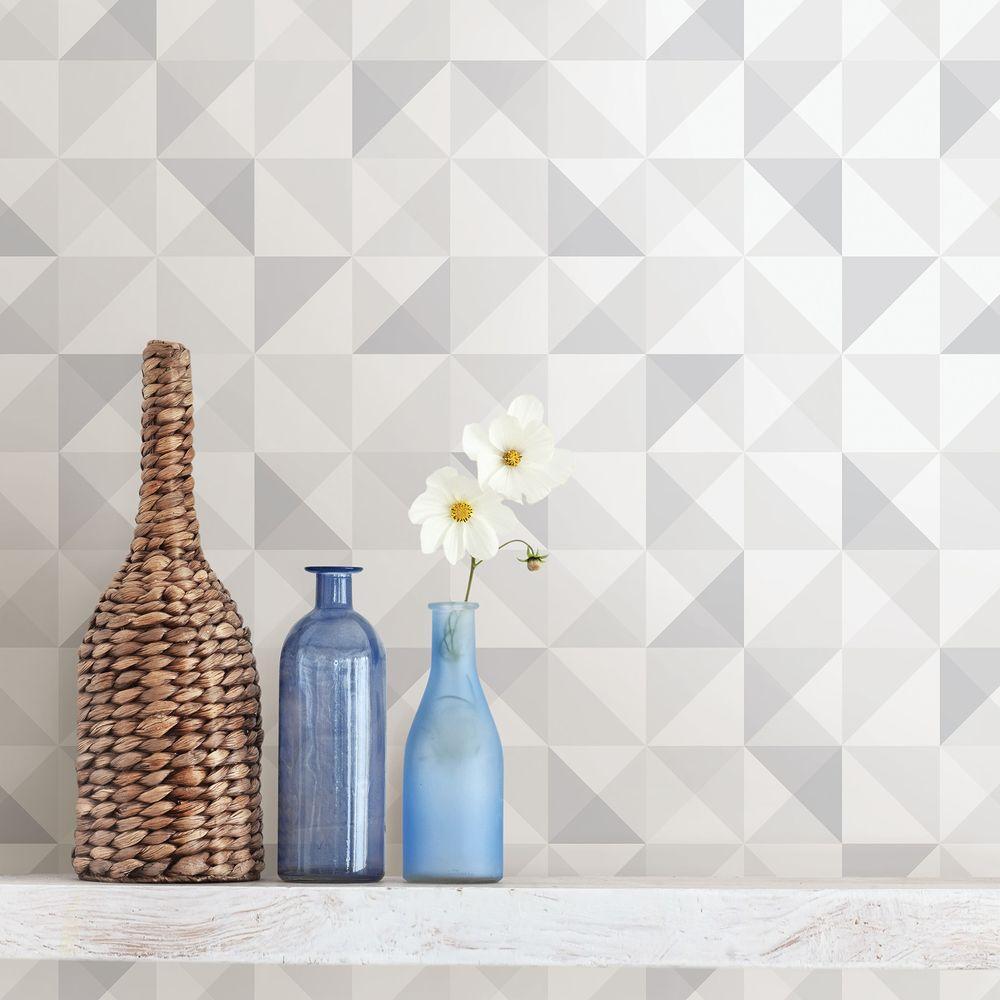 Dabria White Geometric Wallpaper Sample