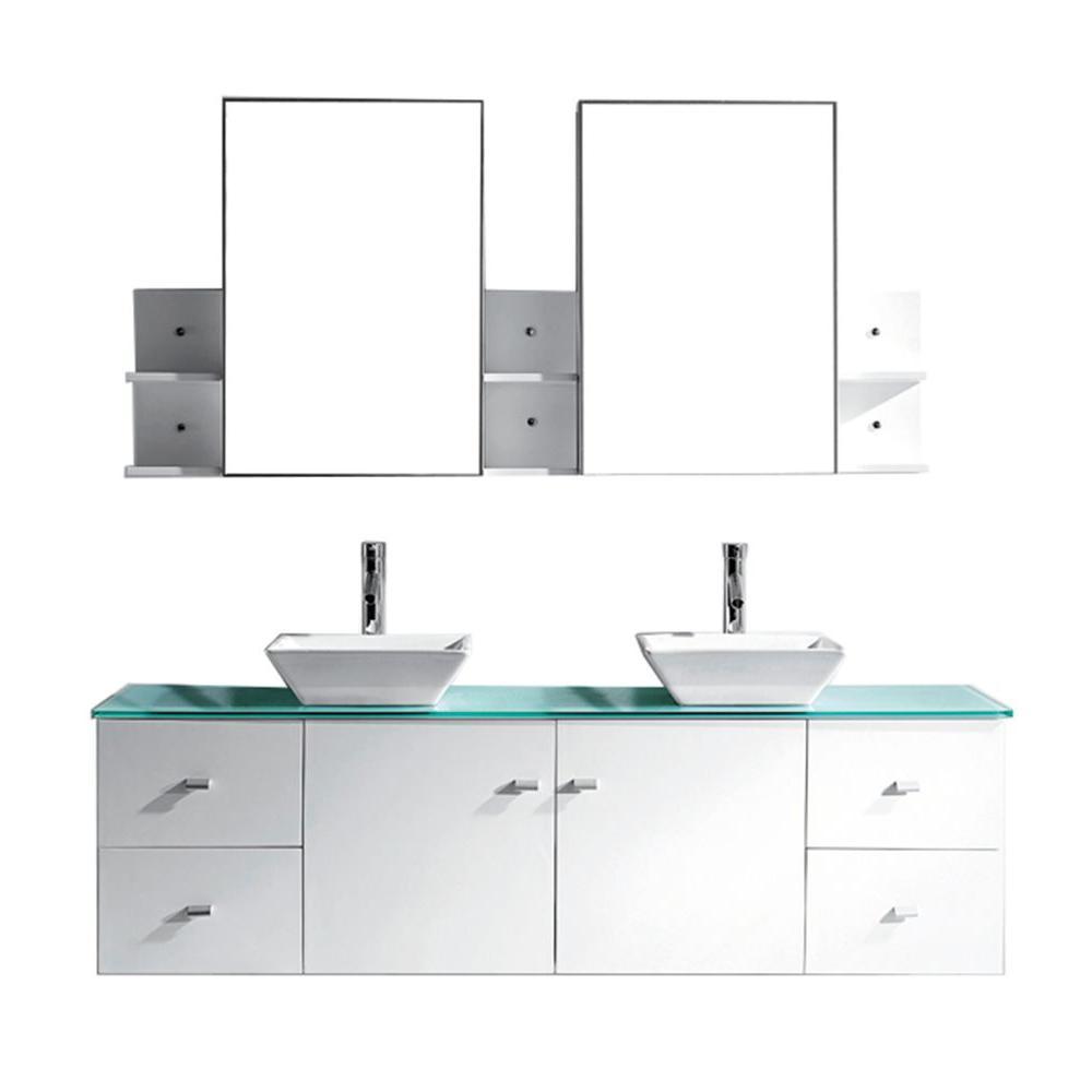Virtu Vanity White Glass Vanity Top Aqua White Basin Mirror