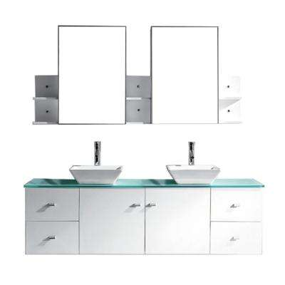 Clarissa 72 in. W x 22 in. D Vanity in White with Glass Vanity Top in Aqua with White Basin and Mirror
