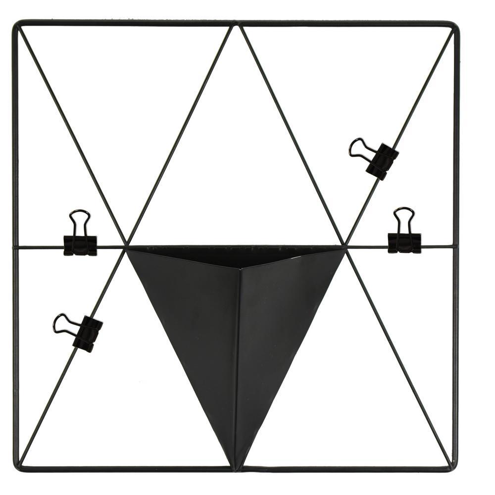 Matte Black Triangle Metal Grid with Pocket Wall Organizer Memo Board