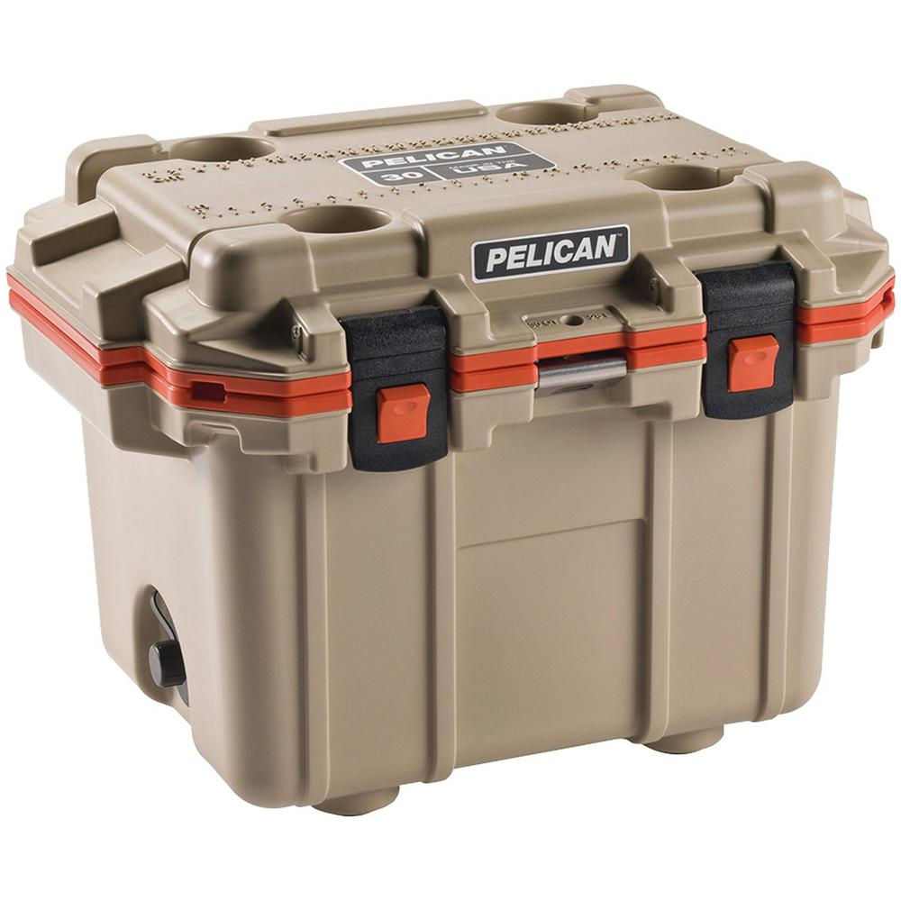 30 Qt. Tan with Orange Trim Elite Cooler